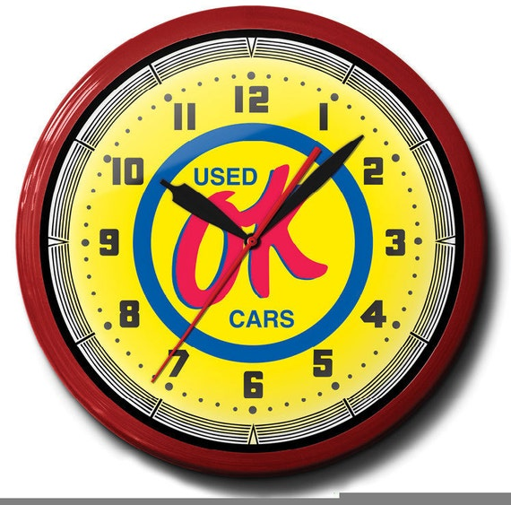 Ok Used Cars Chevrolet 20 Inch Neon Wall Clock Advertising