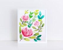 Pink Flowers Bouquet, Floral Watercolor, Original Watercolor, Flower Wall Art, 8x10