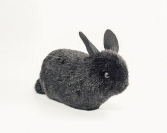 Аrt toy small black bunny faux fur felt