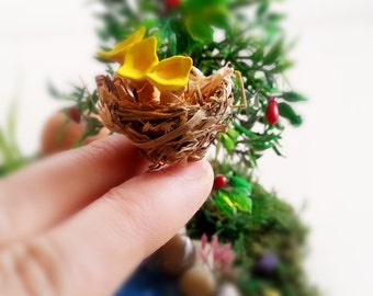 1.18 inch Tiny nest with 3 chicks, Terrarium Accessory, Fairy Garden Bird nest, fairy bird nest, egg nest, fairy garden accessories
