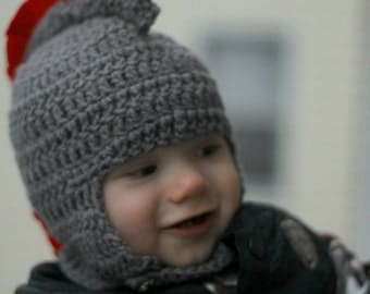Grey Baby Helmet With Frill, Fits 6-9 months: Ready To Ship