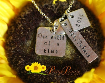 Student Teacher Necklace - Gift for New Teacher - Year End Student Appreciation Necklace - Custom Handstamped Jewelry - Daycare Teacher