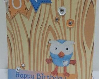 Hoot Custom made Birthday Card Happy Birthday Personalized Birthday Card 1st Birthday kids card