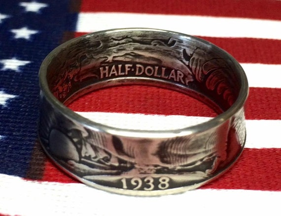 1916-1947 Silver Coin Ring -  hand crafted from genuine US Walking Liberty Half Dollar Years 1916-1947 (free shipping)