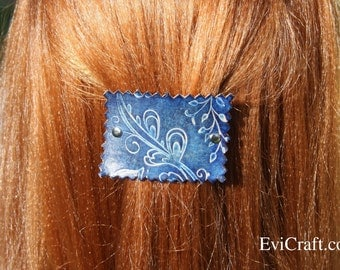 Handmade Leather French hair barrette, Leather Hair clip, women Hair Accessory, blue hair fashion, leather accessory