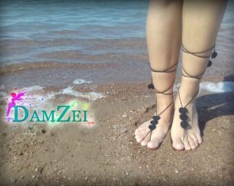 Barefoot Sandal, Crocheted Heart Anklet, Black Barefoot Sandal, Lace Barefoot Sandal, Barefoot Anklet, Foot Jewelry, order White Gray Ivory