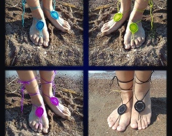 White Barefoot Sandal, Green Barefoot Sandal, Gray Barefoot Sandal, Black Sandal, Lace Barefoot Sandal, Barefoot Anklet, Foot Jewelry