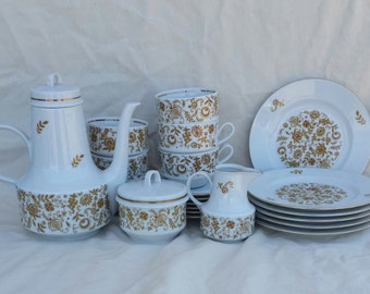 Vintage Henneberg Mod Coffee Service for Six, 21 pieces