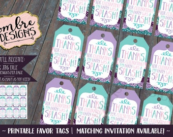 Mermaid Party, Decor, Mermaid Favor Tags, Loot Bag Tags, Favor Bag, Tag, Mermaid Birthday Decorations, Printable