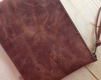 Brown Medium Clutch, Leather purse, ipad mini.10