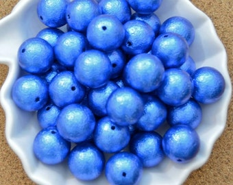 20mm royal blue crinkle pearl, 10 pieces