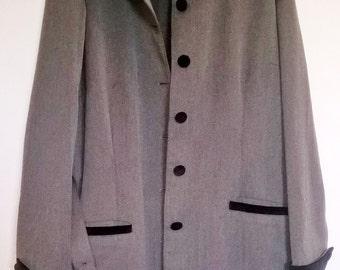 Teddy Girl Drape Coat. Herringbone, Velvet trim. VOLUP