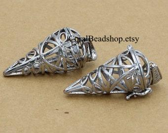 x0227-2pcs Triangle Pentagram Pendant Locket for Essential Oil Diffuser Necklace Making