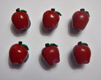 Set of 6: Red Apple Fruit Magnets, Handmade from Polymer Clay.  Great for Fall Harvest!