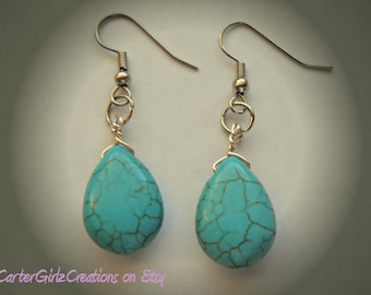 Turquoise Teardrop Earrings, Turquoise Earrings, Small Earrings, Light Weight Earrings, Trendy Earrings