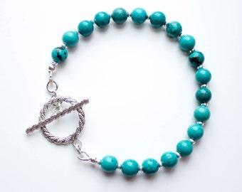 Turquoise bracelet, gemstone bracelet, sterling silver bracelet, turquoise beaded bracelet, semi precious gemstone, December birthstone
