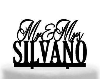 Melbournes best Acrylic Wedding Cake toppers  Mr&Mrs scripted with Block Surname Australian made