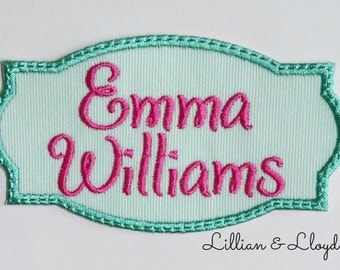 Iron On One or Two Line Text Name Patch/CUSTOM COLORS/ 2 Line Text Name Patch/Personalized Patch/Backpack Patch/Embroidered Name Patch