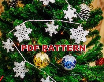 Snowflake crochet pattern garland #22, christmas decor, christmas snowflake, crochet garland pattern