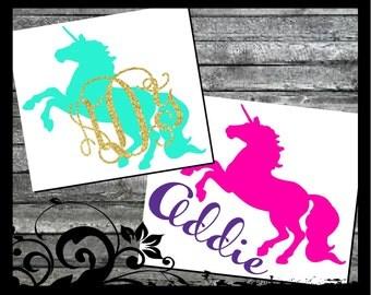 Unicorn Monogram Decal, Unicorn Decal, Yeti Cup Decal for Women, Yeti Cup Monogram, Unicorn Car Decal, Monogram Decal for Laptop, Car Decals