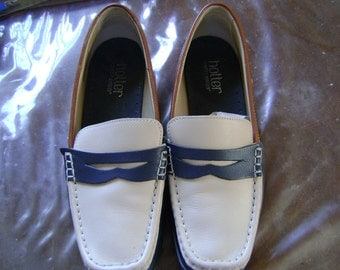 HOTTER LADIES  Navy,Cream & Tan Leather Walking Shoes - size 5 1/2  /39