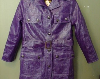 1970's Purple Vinyl Short Trench Coat, New Old Stock, Size 10, Rugged Wear By Milano, Belted, Front Pockets, White Stitching, Made in Japan