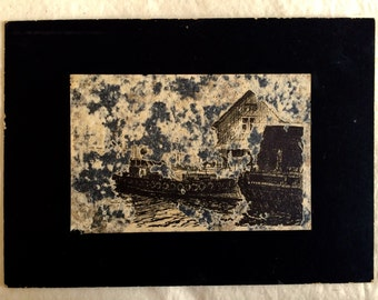 Sale! Black/white pen & ink sketch tropical or oriental boats and house