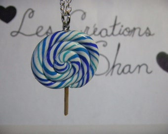 Blue lollipop necklace