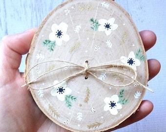 Ring Bearer Wood Slice, Woodland Wedding, Boho Wedding, Ring Holder, Ring Bearer, Wedding Ring Holder, Rustic Wedding, Floral Boho Wedding