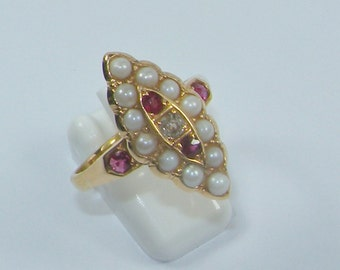 An antique marquise-shaped, ruby, pearl and diamond ring size M (US 6 1/2)