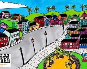A4 fine art giclée print titled El Pueblo