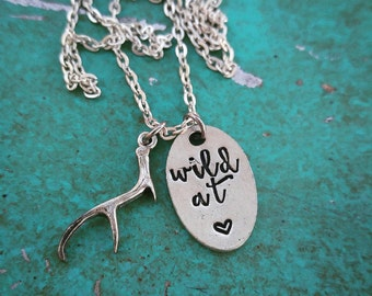 Wild at heart, handstamped jewelry, handstamped necklace, western jewelry, deer antler, antler, calligraphy, gifts for her, necklace