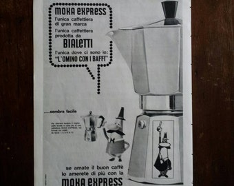 Bialetti moka express advertising vintage 1960 made in Italy