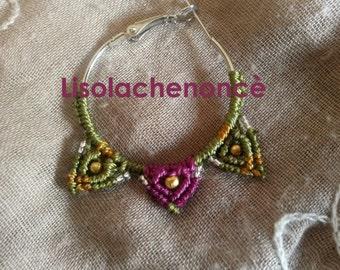 "Macrame earrings ""baroque circle"" green and purple"