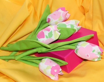 Bright fabric tulips - price per one. Plus FREE gift-surprise!