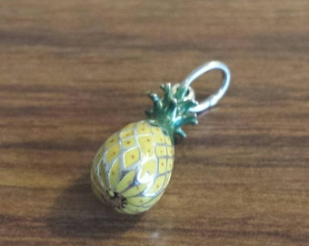 "Sterling Silver Enameled ""Pineapple"" charm"