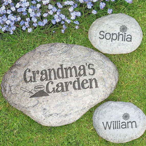 personalized yard garden stone decorative engraved large round. Black Bedroom Furniture Sets. Home Design Ideas