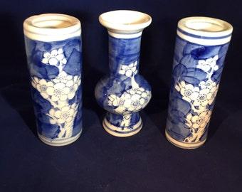Three Mini Vases Blue and White Prunus