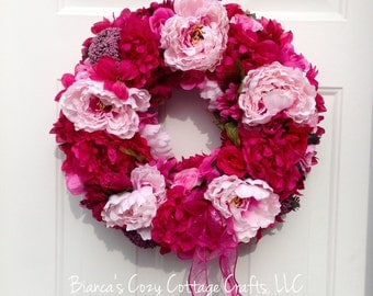 Pink flower wreath - pink floral wreath - pink spring wreath - summer wreath - pink front door wreath - peony wreath - housewarming gift