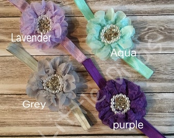 Lace baby headbands - bling flower headband - lace headband - infant headband - pink headband - headband - girls headband - flower headband