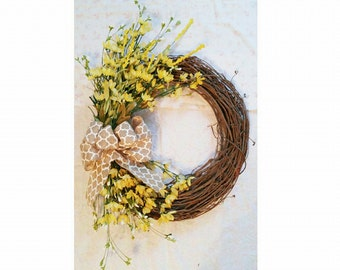 Summer Floral wreath - Qautrefoil bow, flower wreath, grapevine