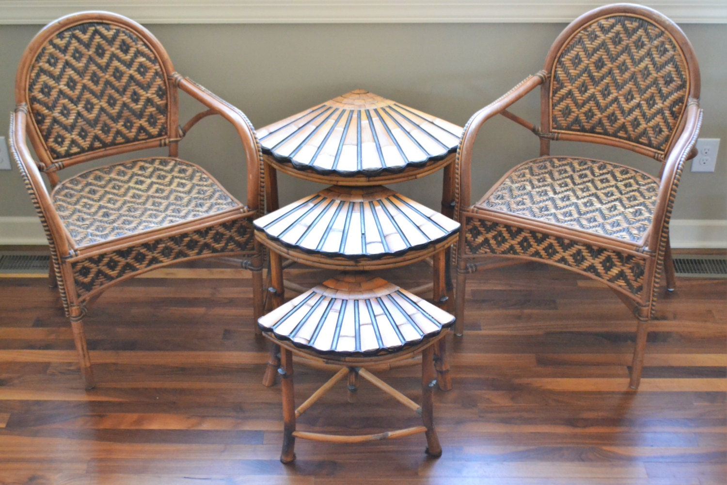 Vintage Bamboo Rattan Side Tables Set Of 3 Bamboo End Tables