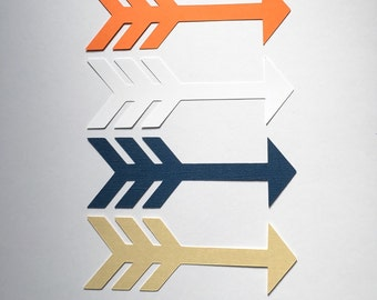 Arrow Garland and Confetti Package, Orange, Navy, Gold and White