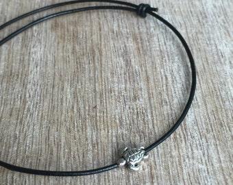 Leather Anklet, Turtle Anklet, Black Leather Anklet, Adjustable Anklet  LA001015