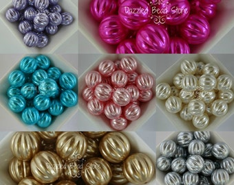 20mm acrylic Melon shaped PEARL beads - for chunky bubblegum necklaces