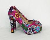 Day of the dead pink heels, sugar skull heels, candy skull shoes, gothic heels, skull heels, boho, skull shoes, custom heels, rockabilly