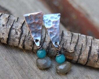 Copper Earrings, Artisan Earrings, Labradorite Earrings, Copper Studs