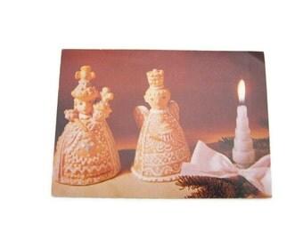 Christmas Postcard Paper Ephemera Used  Vintage Holiday Postcard Ceramic Dolls Postcard Used Paper Ephemera Hungary Postcard