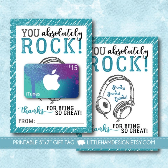 Witty image inside itunes printable gift card