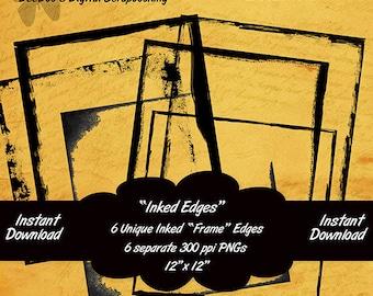 Digital Inked Edges 12x12 Overlays – 6 PNGs-grunge ink-Scrapbooking-Stamping-INSTANT DOWNLOAD